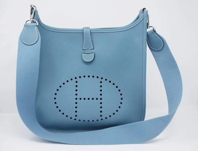 Hermes Blue Jean Evelyne Bag GM