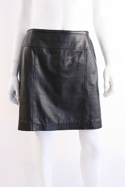 Vintage Chanel Leather Mini Skirt