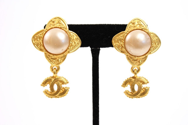 Vintage Chanel Gold & Pearl CC Earrings