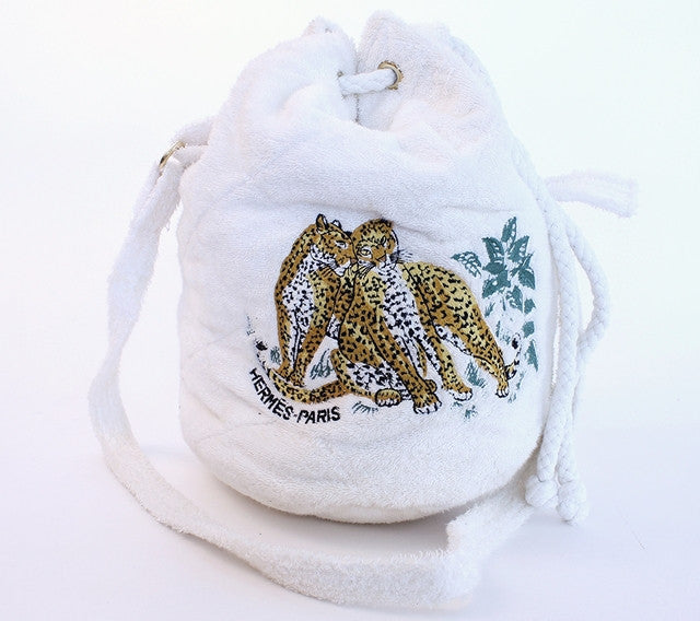 Vintage Hermes Les Leopards Drawstring Bag