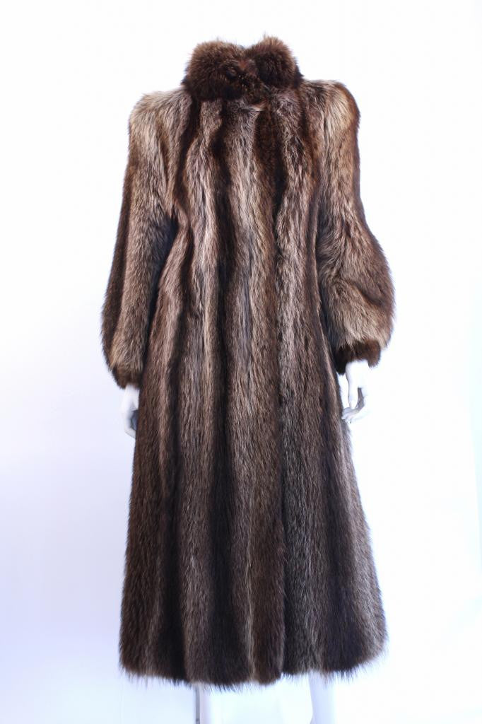 Vintage Raccoon Fur Full Length Coat