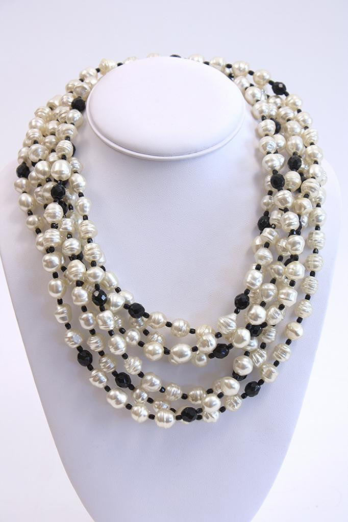 Vintage Daniele Cornaggia Pearl & Onxy Necklace