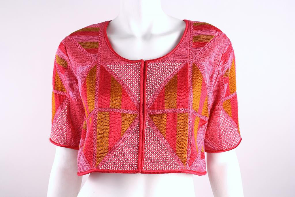 Vintage Pink Silk Crop Top