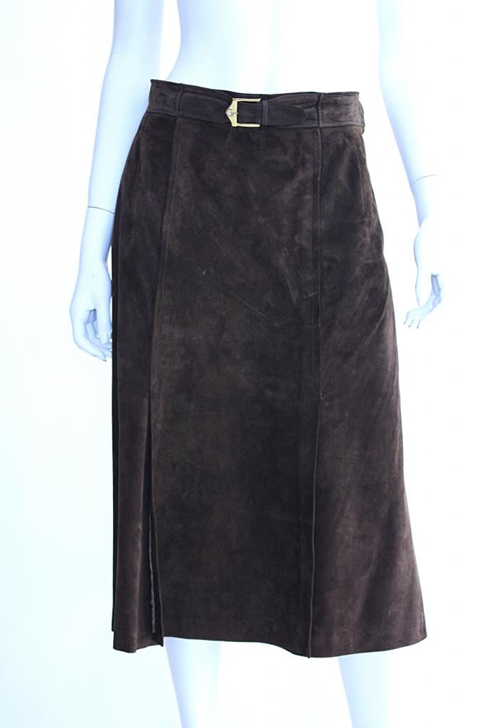 5d2eb0f43cb 1970s GUCCI Chocolate Brown Suede Skirt