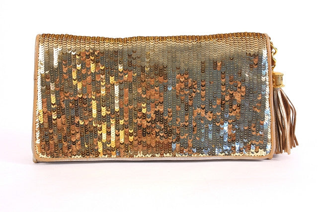 Vintage Chanel Gold Sequin Clutch Bag