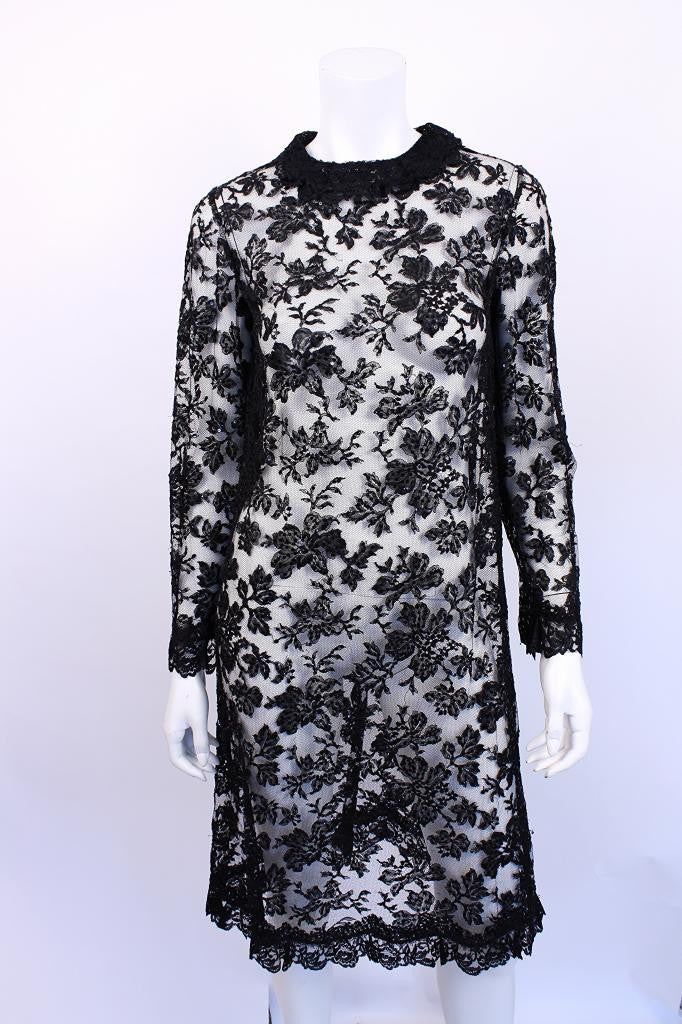 Vintage 60's Black Sheer Lace Dress