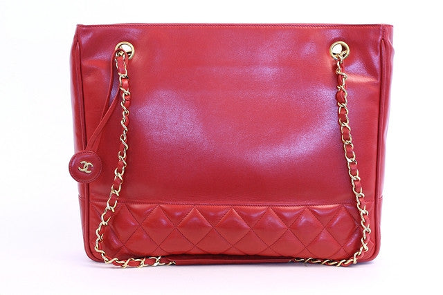 Vintage Chanel Red Tote Bag