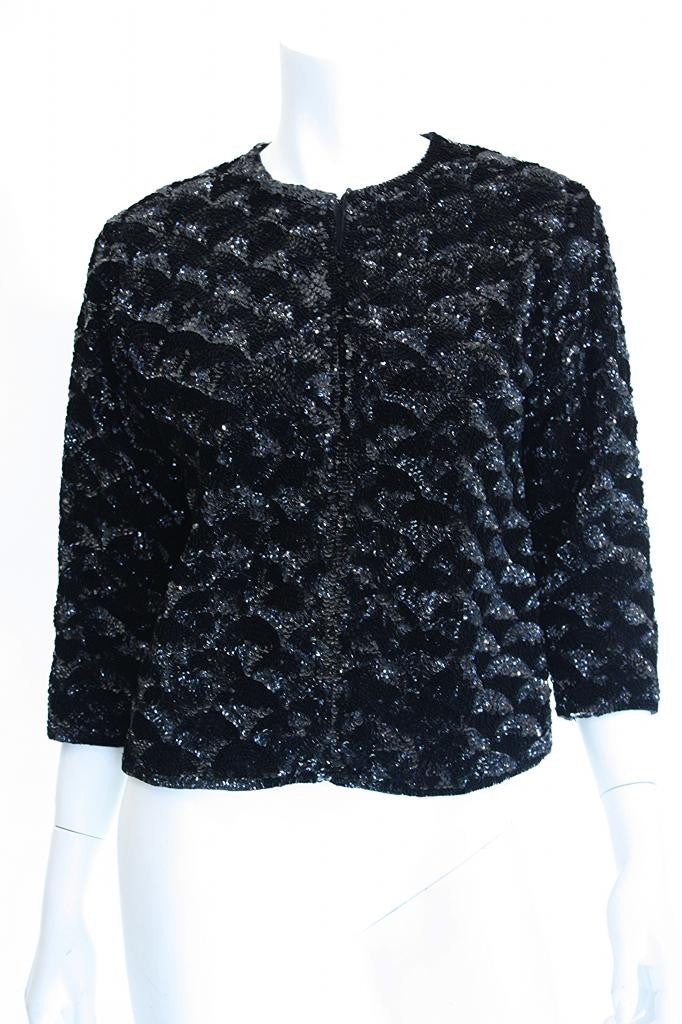 Vintage 50's Black Sequin Scalloped Pattern Jacket