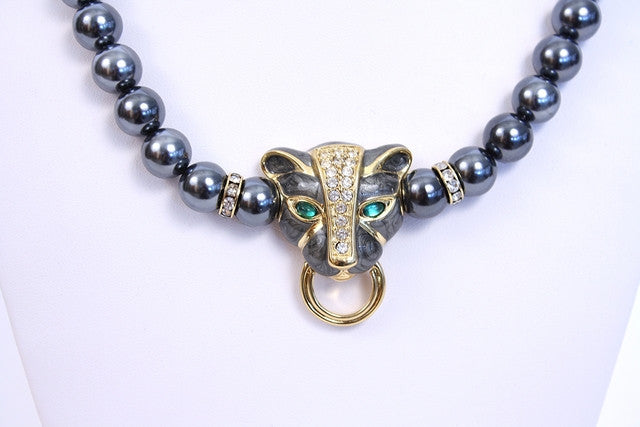 Vintage Kenneth Jay Lane Panther & Pearl Necklace