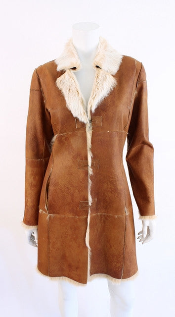 Reversible BEBE Shearling & Rabbit Fur Coat