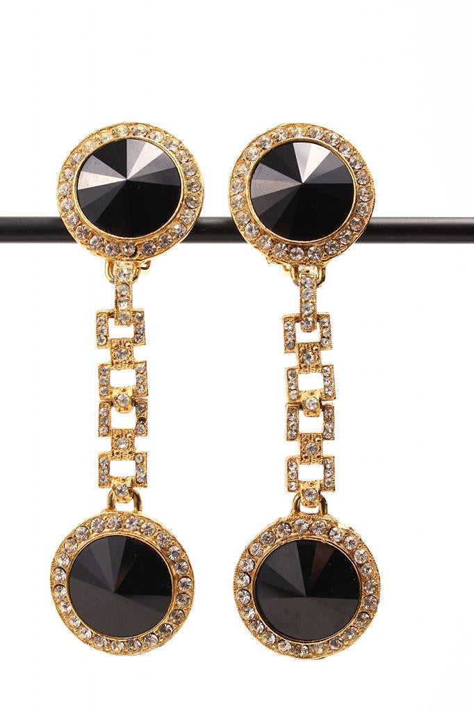 Vintage Black & Clear Rhinestone Hanging Earrings