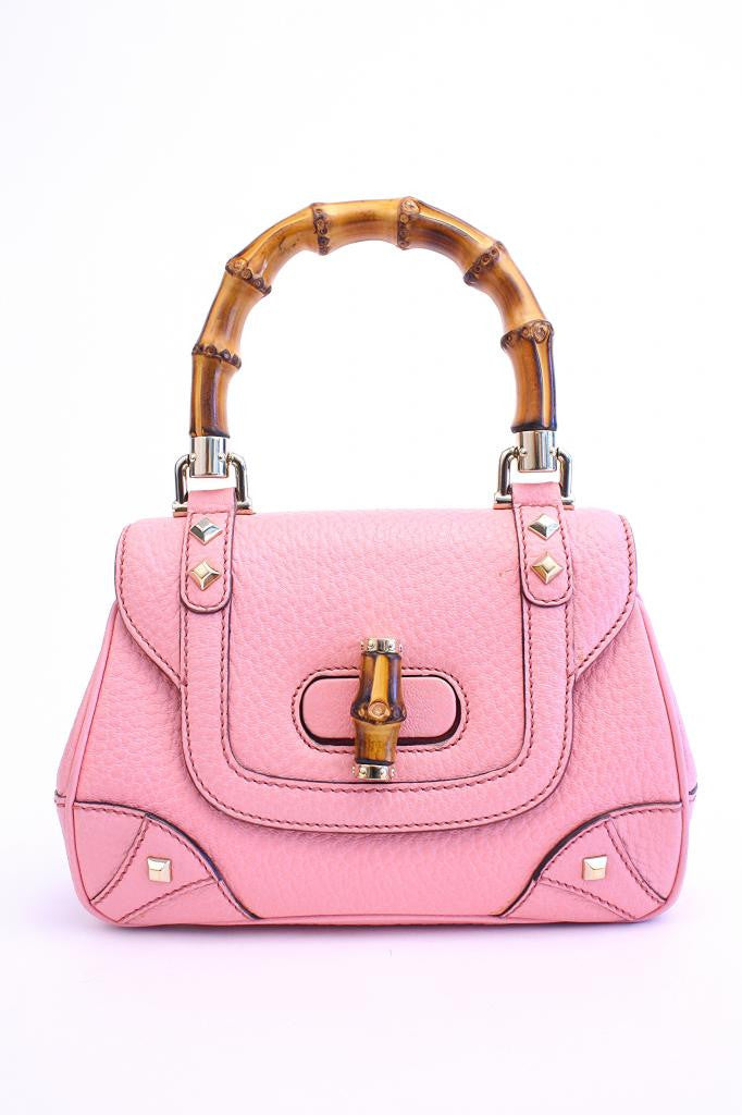 GUCCI Pink Studded Leather Handbag w/Bamboo Handle & Wallet