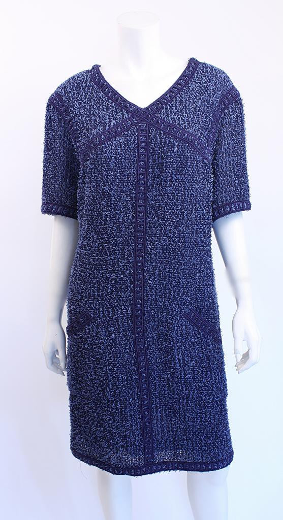 Chanel Blue Tweed Boucle Dress