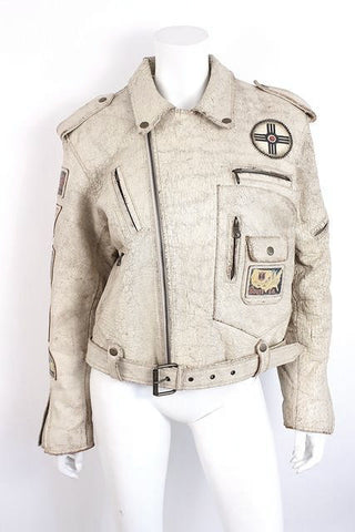 Vintage GEORGES MARCIANO Guess Leather Motorcycle Jacket