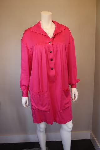 90's EMANUEL UNGARO Hot Pink Silk Dress with Signature Buttons