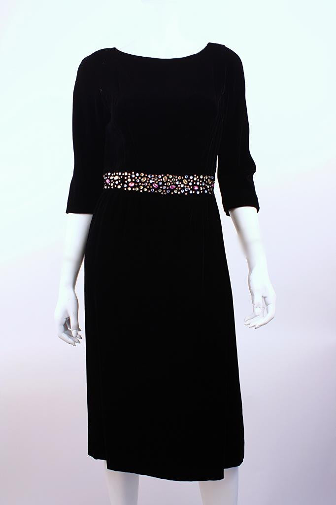 Vintage 60's B. ALTMAN Velvet & Jewel Dress