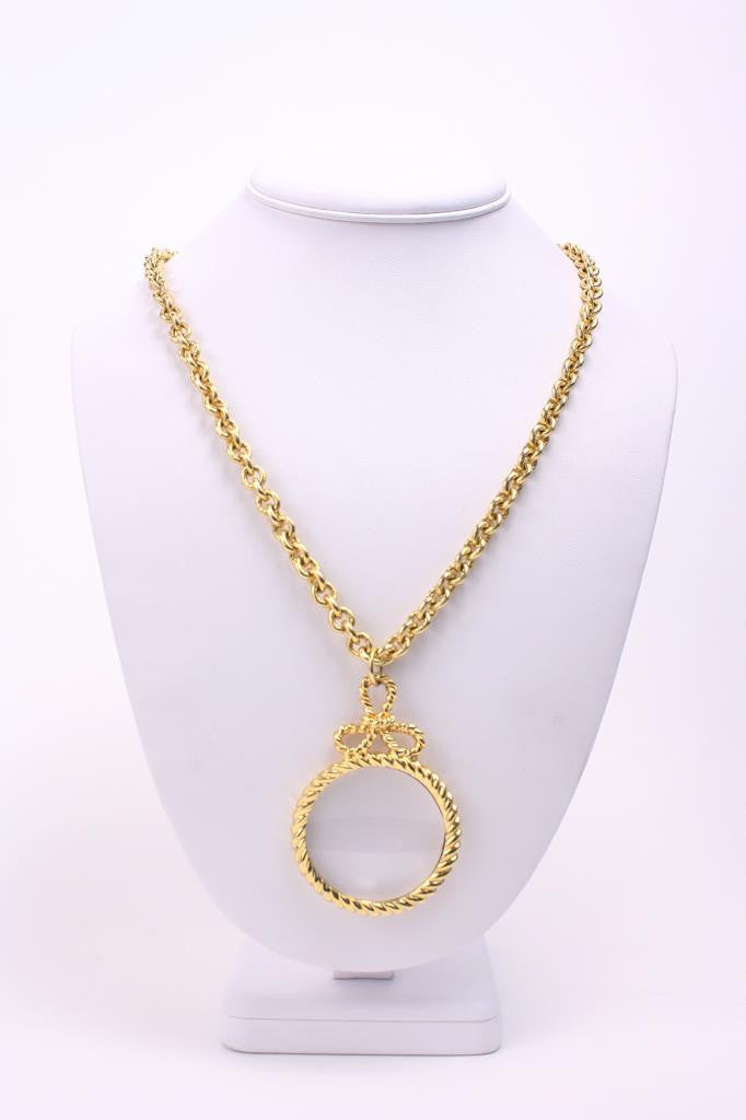Vintage 80's ST. JOHN Gold Magnifying Glass Necklace