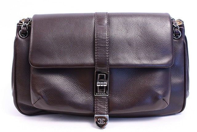 Vintage Chanel Brown Leather Flap Bag