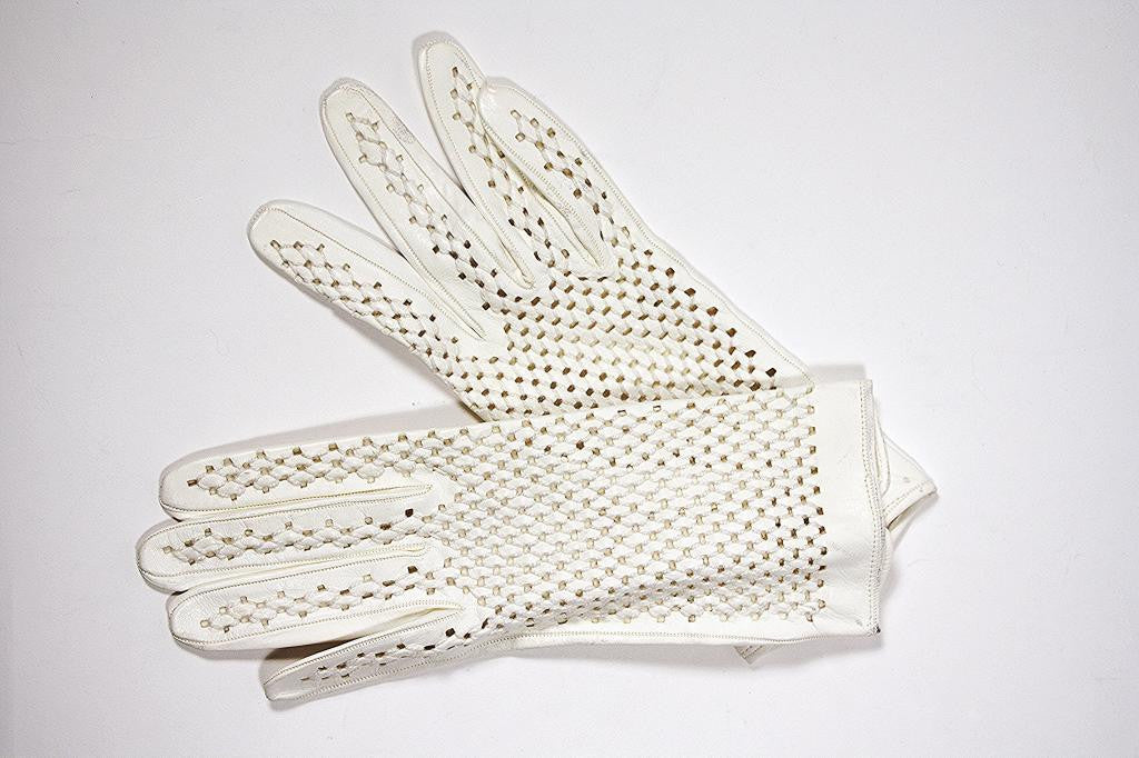 Vintage 60's White Leather Perforated Leather Gloves