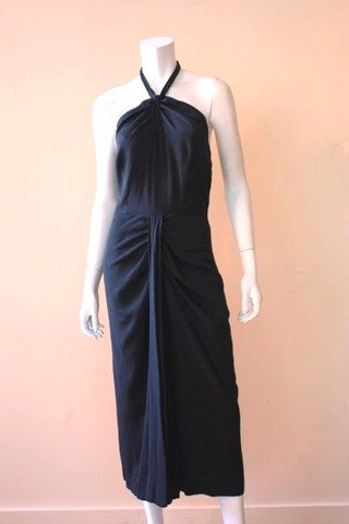 1940s Black Crepe Halter Dress