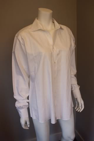 HERMES White Woven Cotton Dress Shirt with Chevron Pattern & Silver HERMES Buttons