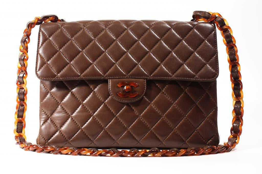 Vintage Chanel Brown Flap Bag with Tortoise