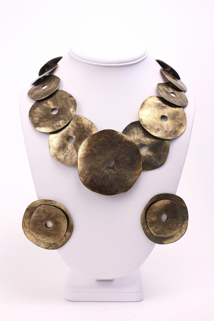 Vintage LES BERNARD Hammered Gold Disk Necklace & Earring Set
