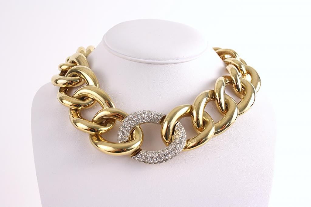 Vintage Givenchy Gold & Rhinestone Necklace