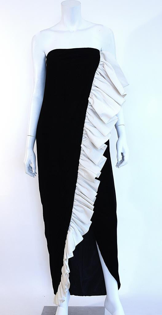 1970s BILL BLASS Velvet and Silk Strapless Gown