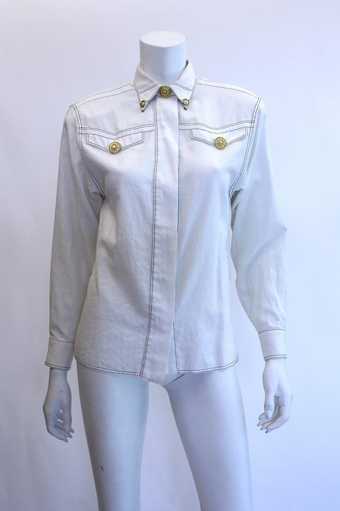 Vintage GIANNI VERSACE COUTURE White Cotton Shirt