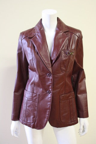 1970s ETIENNE AIGNER Oxblood Leather Blazer