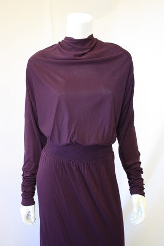 1970s GIVENCHY Purple Silk Jersey Gown