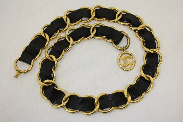Vintage CHANEL Extra Wide Chain Link & Black Leather Belt with Large CC Emblem