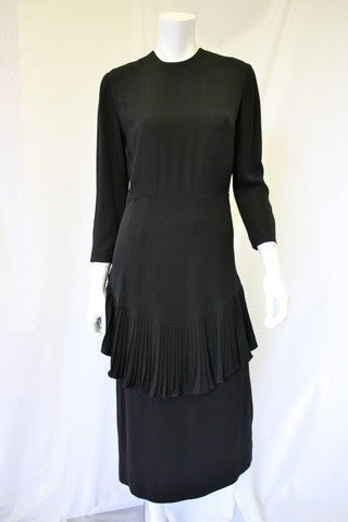 1940s Crepe Dress with Pleated Ruffle