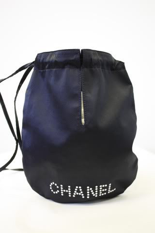 2003-2004 CHANEL Black Satin Drawstring Evening Bag with CHANEL Name in Faux Pearls with Silver Embossed CHANEL Charms