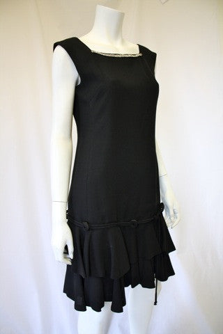 1950s Black Drop Waist Sleeveless Dress