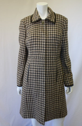COACH Brown Tweed Wool Coat with Leather Trip & Classic Brass Turn Lock Closure