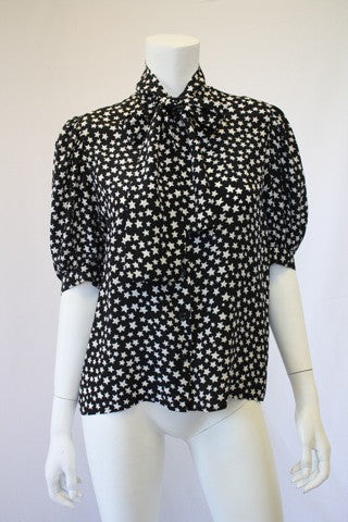 Vintage 70's YVES SAINT LAURENT Black & White Star Print Silk Blouse with Ascot Tie