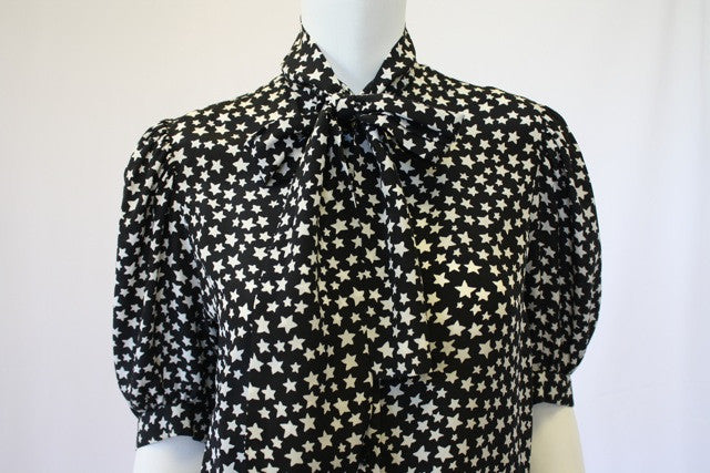 34e90670db9 Vintage 70's YVES SAINT LAURENT Black & White Star Print Silk Blouse with Ascot  Tie