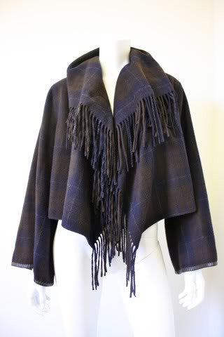 HERMES 100% Cashmere Plaid Blanket Jacket with Fringe & Leather Buckle & Trim Accent