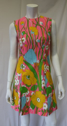 1960s PECK & PECK Floral Print Dress and Short Set