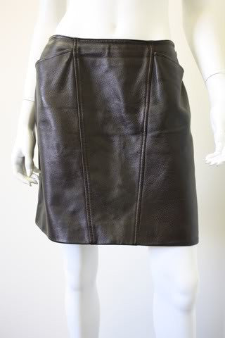 '97A CHANEL Dark Brown Leather Mini Skirt