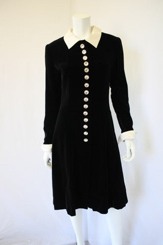 Vintage LOUIS FERAUD Black Velvet Coat Dress
