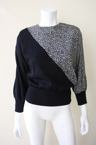 1980s Black Knit and Cheetah Print Sweater