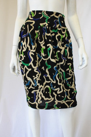Vintage 80's MISSONI Black Skirt with Green, Blue, & White Abstract Print