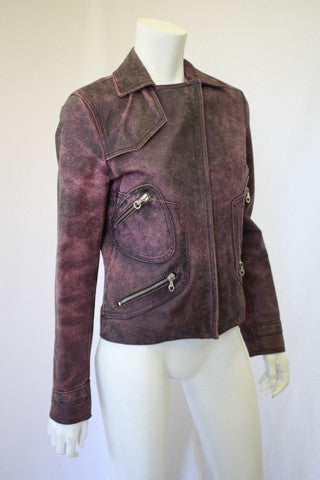 VERSACE Distressed Leather Motorcycle Jacket