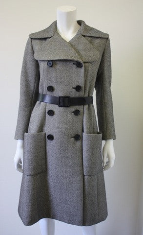 Vintage '70s NORELL Wool Tweed Coat with Belt