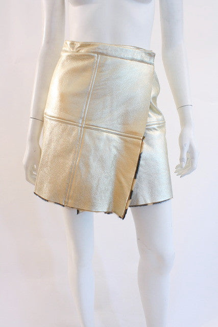 2a938eba Vintage VERSACE Gold Leather Skirt at Rice and Beans Vintage
