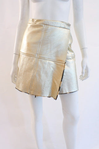 Vintage VERSACE Gold Leather Skirt