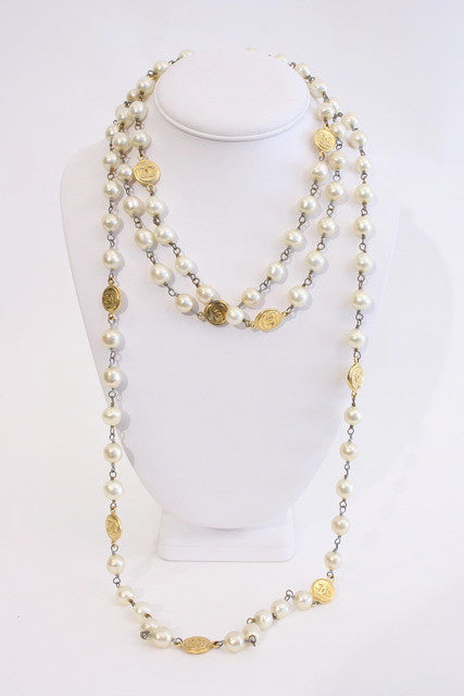 2 Vintage Chanel Pearl Necklaces